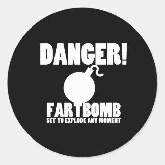 Danger!  Fartbomb to Explode Round Sticker