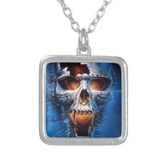 Danger Fire Skull Image Personalized Necklace