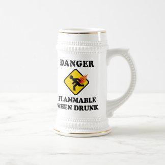 Danger Flammable When Drunk - Funny Fart Humor Beer Steins