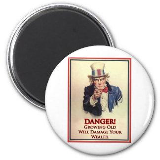 Danger Growing Old Uncle Sam Poster Magnet
