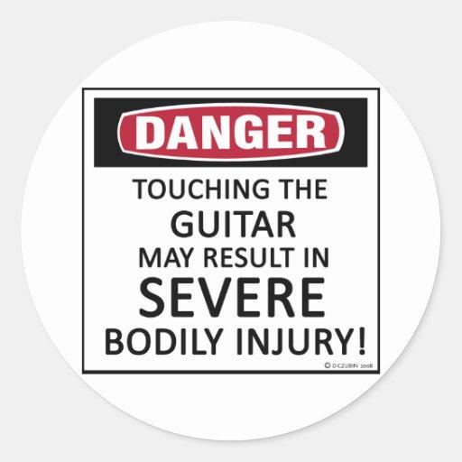 Danger Guitar Round Sticker