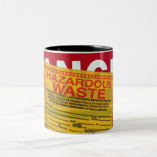 Danger Hazardous Waste Two-Tone Coffee Mug