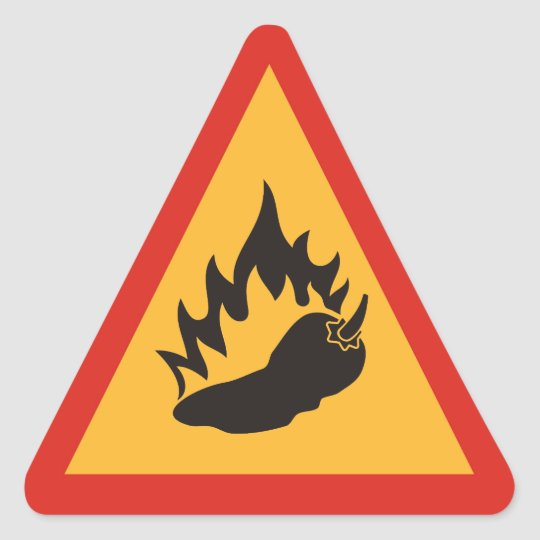Danger hot chilli pepper triangle sticker