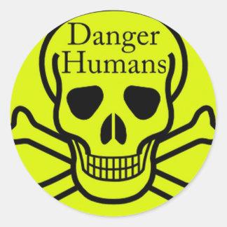 Danger humans round sticker