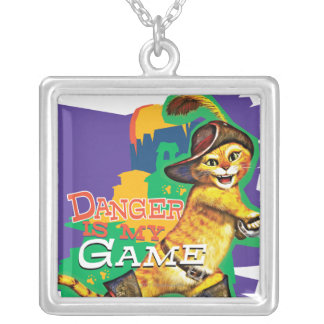 Danger Is My Game Square Pendant Necklace