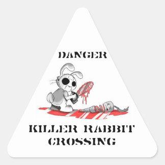 Danger Killer rabbit Crossing Stickers
