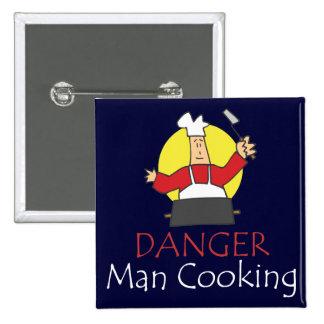 Danger Man Cooking 15 Cm Square Badge