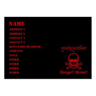 Danger!! Mines!! ☠ Cambodian Khmer Sign ☠ Business Card