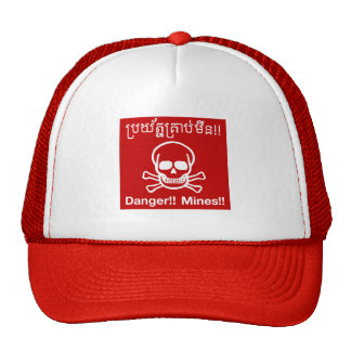 Danger Mines Sign, Cambodia Trucker Hats