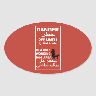 Danger Off Limits Sign, Afghanistan Oval Sticker