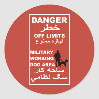 Danger Off Limits Sign, Afghanistan Round Sticker
