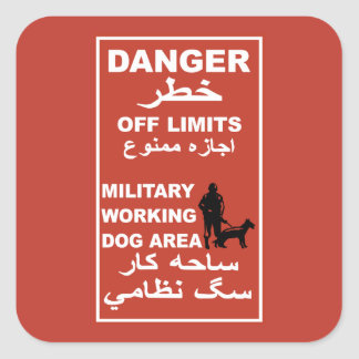 Danger Off Limits Sign, Afghanistan Square Sticker