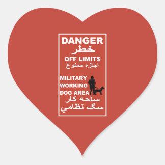 Danger Off Limits Sign, Afghanistan Heart Sticker