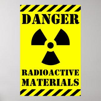 DANGER RADIOACTIVE MATERIALS Sign Halloween Prop
