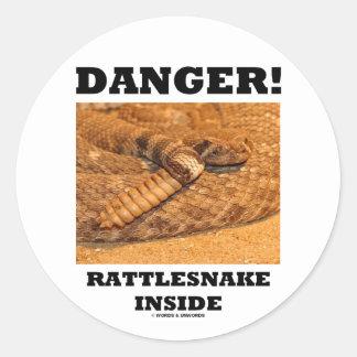 Danger Rattlesnake Inside Round Stickers