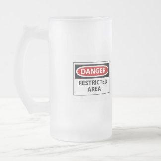 Danger, restrited area frosted glass mug