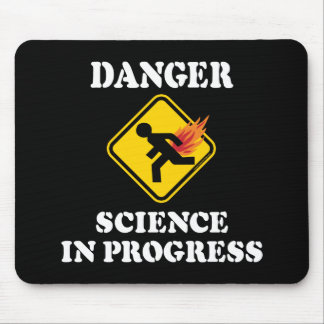 Danger Science in Progress - Flaming Fart Humor Mouse Mat