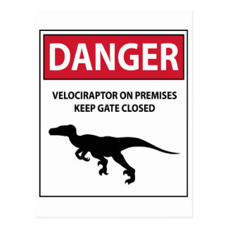 Danger Sign (Raptors) Postcard