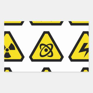Danger signs rectangular sticker