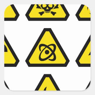 Danger signs square sticker