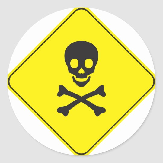 DANGER - SKULL AND BONES SYMBOL CLASSIC ROUND STICKER