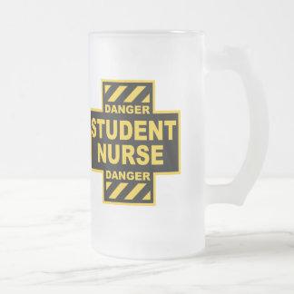 Danger Student Nurse Frosted Glass Mug