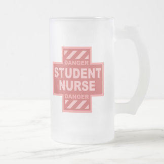 Danger Student Nurse! -pink Frosted Glass Mug