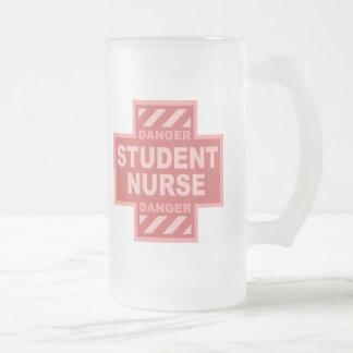 Danger Student Nurse! -pink Frosted Beer Mugs