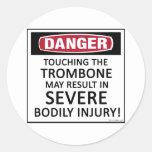 Danger Trombone Round Sticker