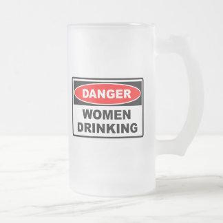 Danger Women Drinking Frosted Mug