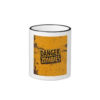 Danger : Zombie Warning Sign Ringer Coffee Mug
