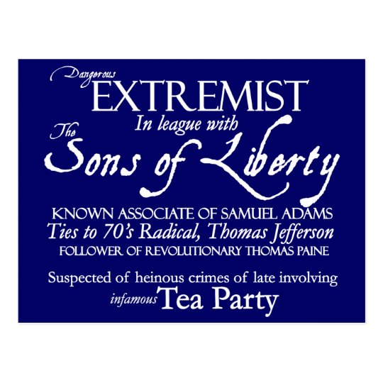Dangerous Extremist 18th Century Style Poster Postcard