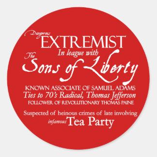 Dangerous Extremist: 18th Century Style Poster Round Sticker