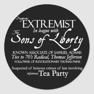 Dangerous Extremist: 18th Century Style Poster Sticker