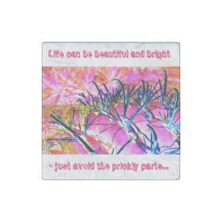 """""""Dangerous in Pink"""" art - life on the funny side. Stone Magnet"""