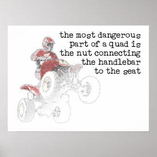 Dangerous Nut Quad ATV Off-Road Print Poster Sign