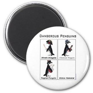dangerous penguins 6 cm round magnet