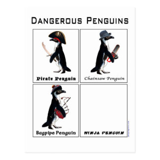 dangerous penguins postcard