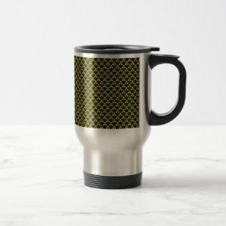Dangerous yellow radioactive sign on black surface coffee mugs