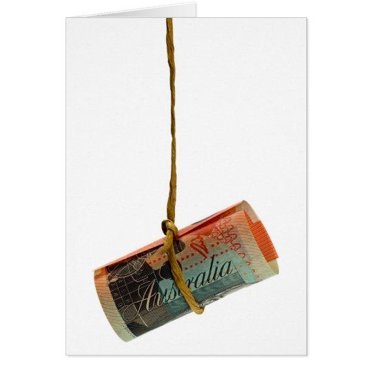 Dangling Australian Dollar Greeting Card
