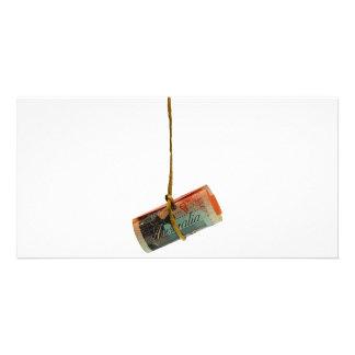 Dangling Australian Dollar Customized Photo Card