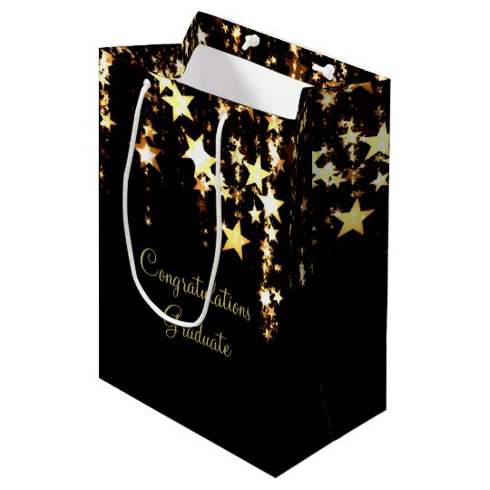 Dangling Gold Stars Medium Gift Bag