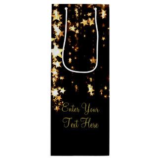 Dangling Gold Stars Wine Gift Bag