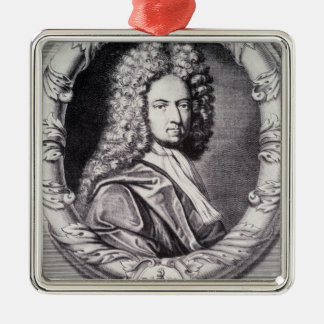 Daniel Defoe, engraved by Michael Van der Gucht Silver-Colored Square Decoration