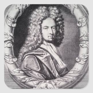 Daniel Defoe, engraved by Michael Van der Gucht Square Sticker