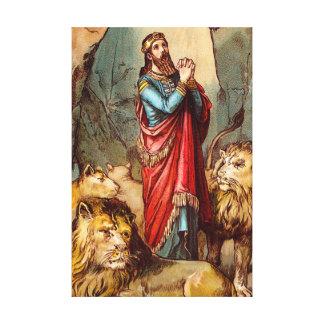 Daniel in the lion`s den Wrapped Canvas Canvas Prints