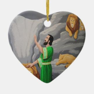 Daniel in the Lions Den Ceramic Heart Decoration