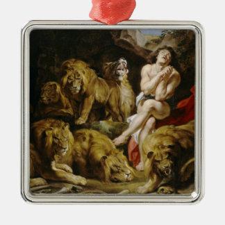Daniel in the Lion's Den Peter Paul Rubens paint Silver-Colored Square Decoration