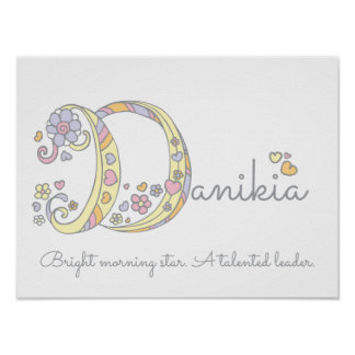 Danikia decorative D name and meaning poster