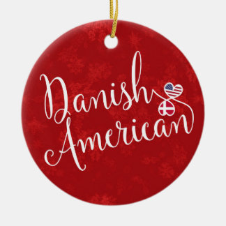 Danish American Hearts Flags Holiday Decoration